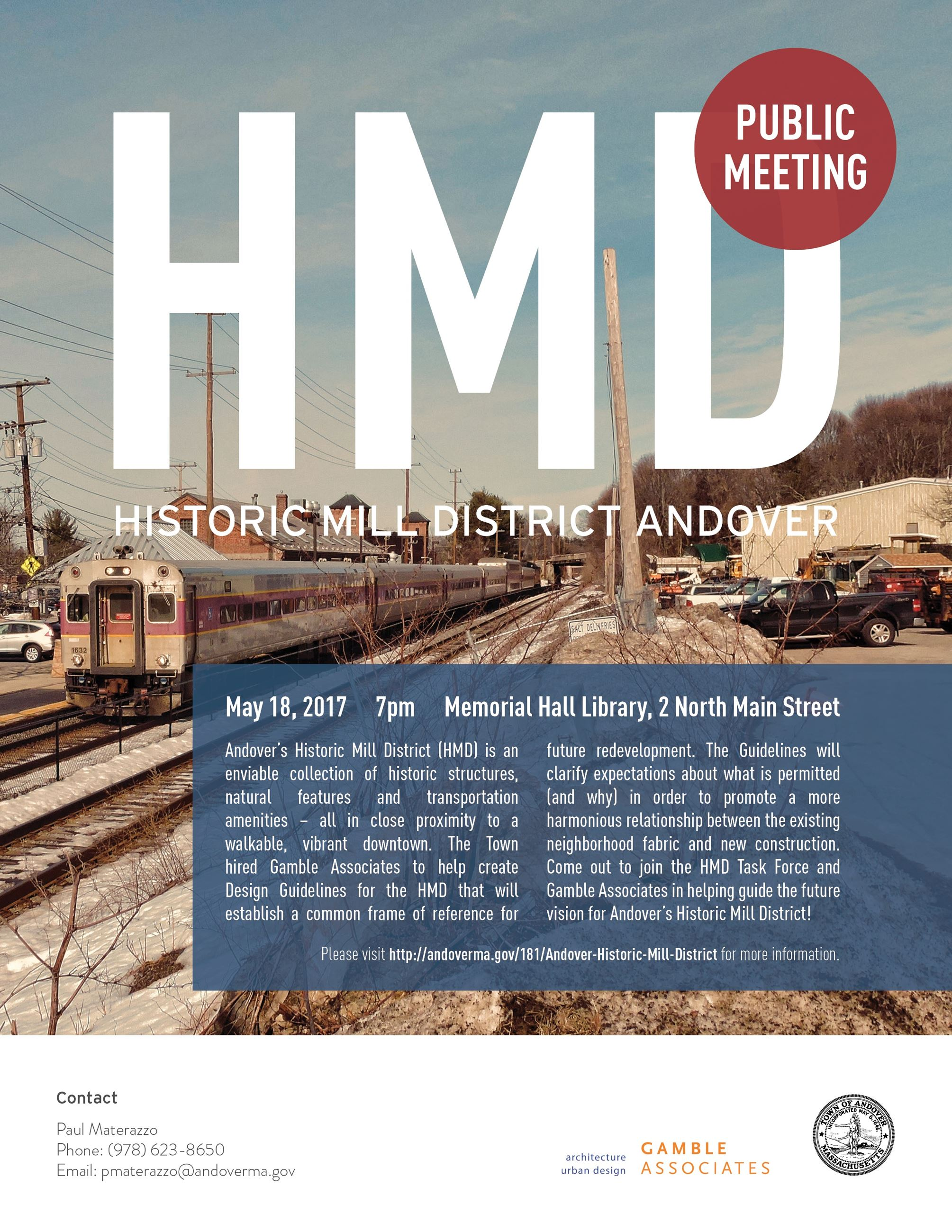 Historic Mill District Public Meeting May 18 2017 7PM at Memorial Hall Library
