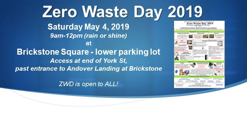 Zero Waste Day 2018  will be held on Saturday May 5, 2018, 9am-12pm (rain or shine) at Brickstone Sq.