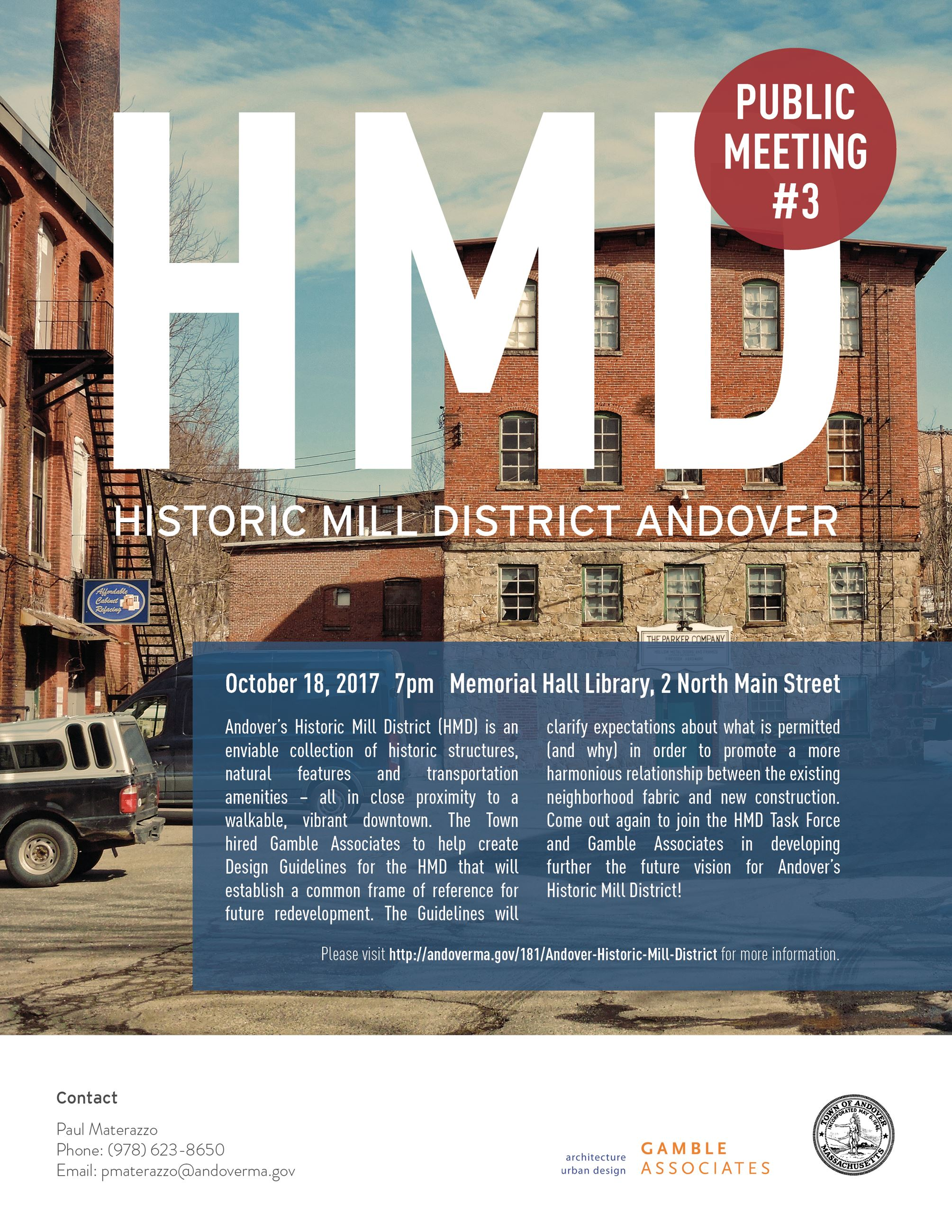 Historic Mill District Public Meeting  October 18, 2017
